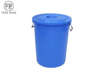 China 100Liter Small Plastic Dustbin With Lid  / Steel Frame Cage And Wheels Red Or Blue factory