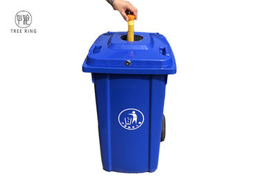 China Customized Recycling Locakable Garbage Wheelie Bin 240l Blue With Bottle Lids Locked factory